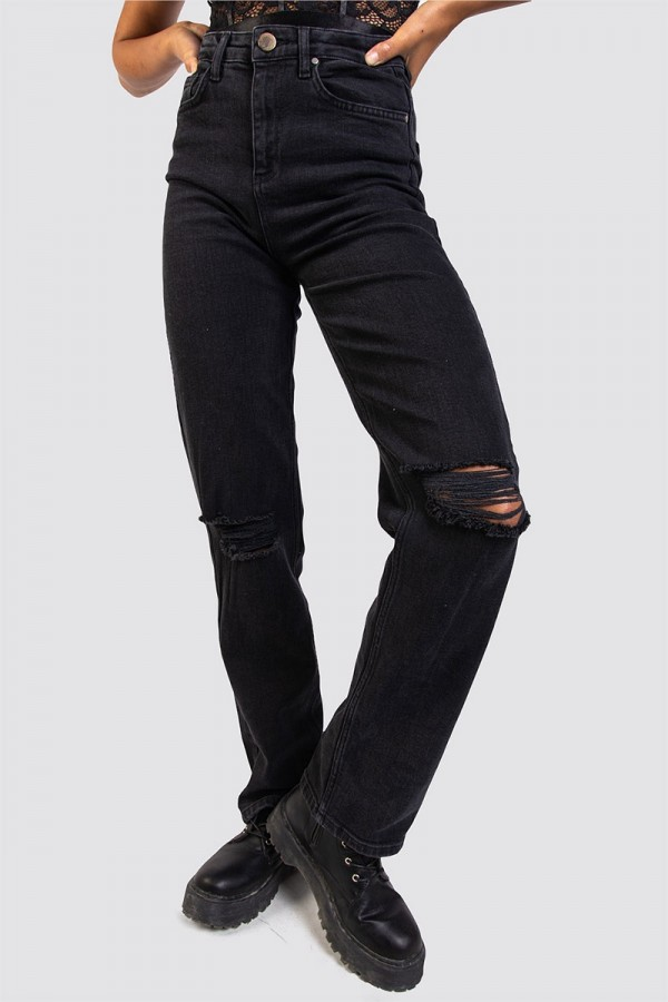 Svarta Jeans - High Waist Torn Black