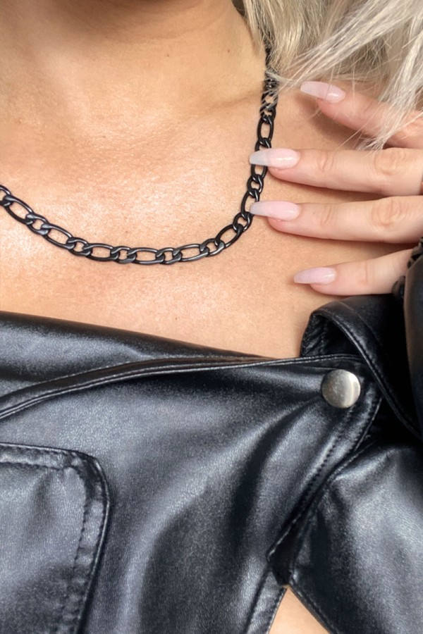 Halsband - Thin Matte Black Chain