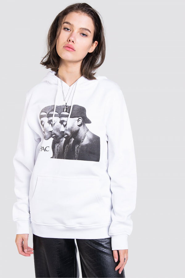 Hoodie - 2Pac Faces White