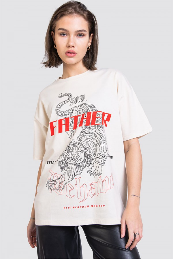 Oversize Off White T-shirt - Behave