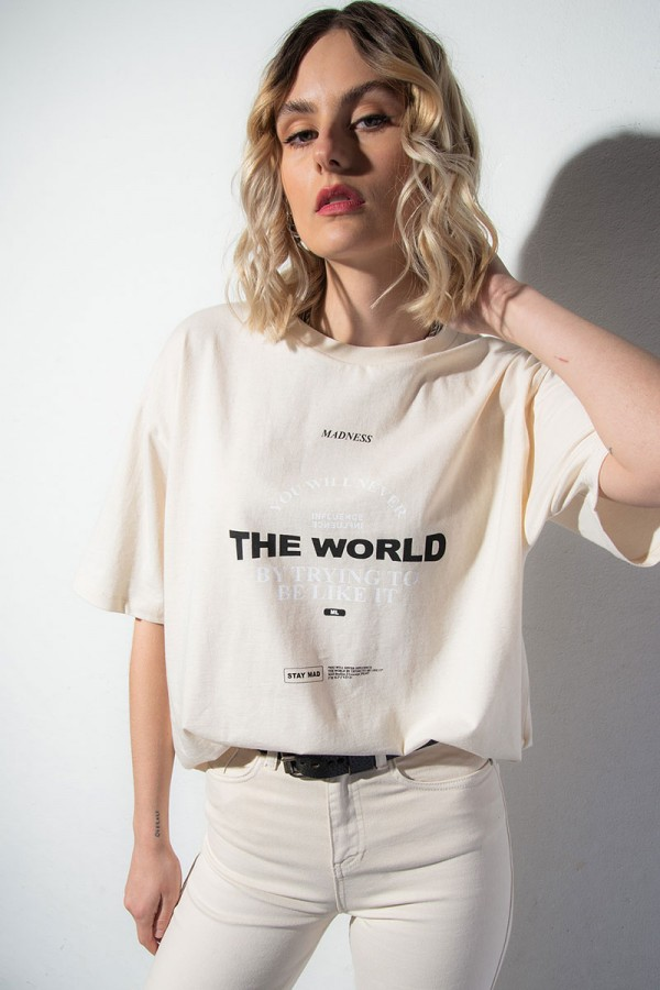 Oversize T-shirt - Influence The World Off White