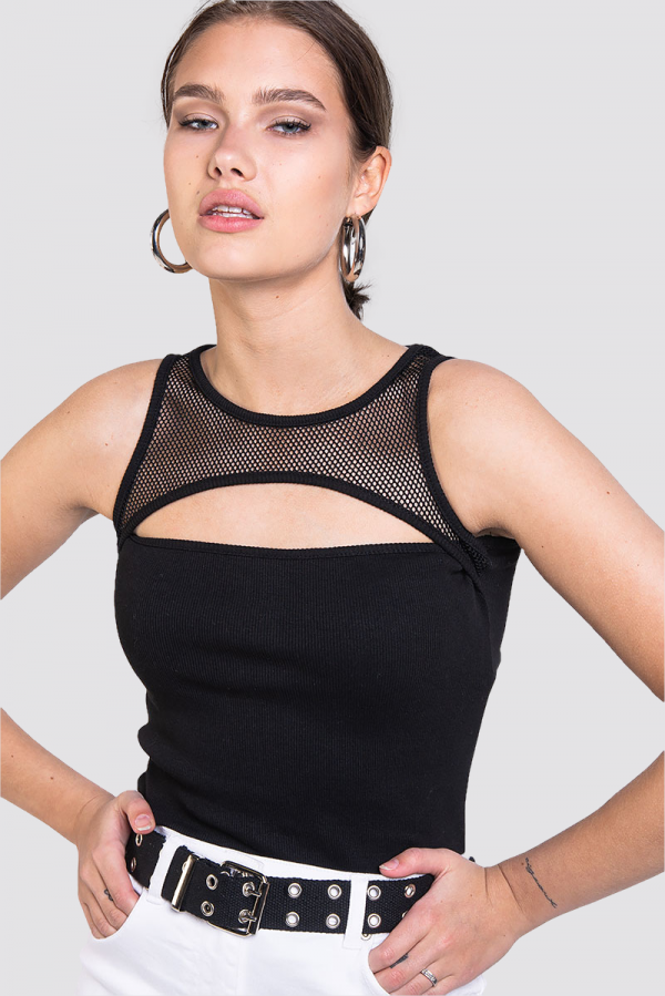 Topp - Mesh Detail Black
