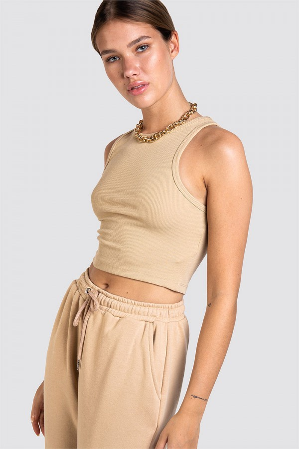 Croppad Topp - High Neck Beige